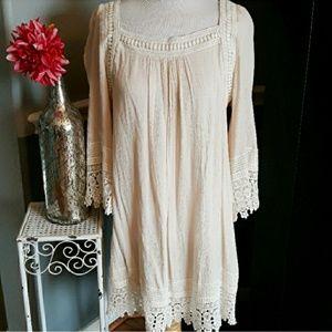 Cream Lace Boho Dress